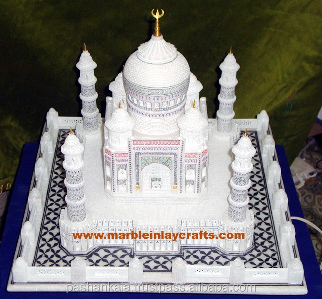 White Marble Hand Carved Colored Taj Mahal Replica Art Handicraft Stone Craft