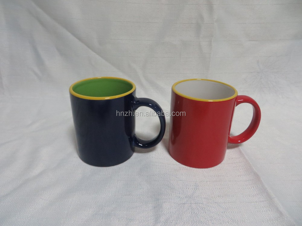 High quality three handle two tone color personalized coffee mugs