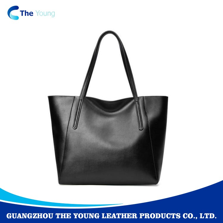 New fashion factory designed customize large plain genuine leather tote bag