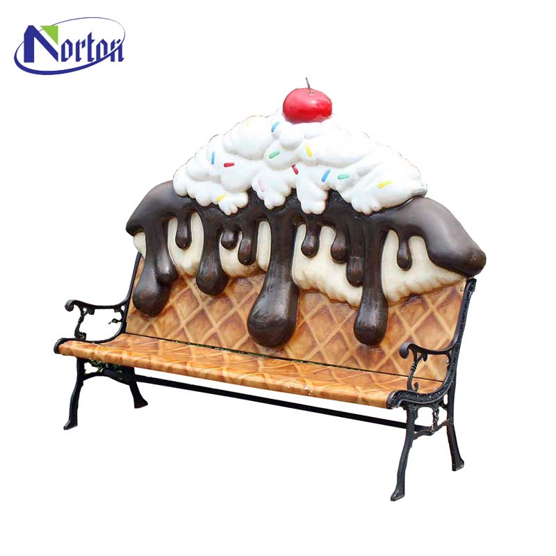 Factory price best selling shopping mall resin craft outdoor decoration fiberglass ice cream chair for sale