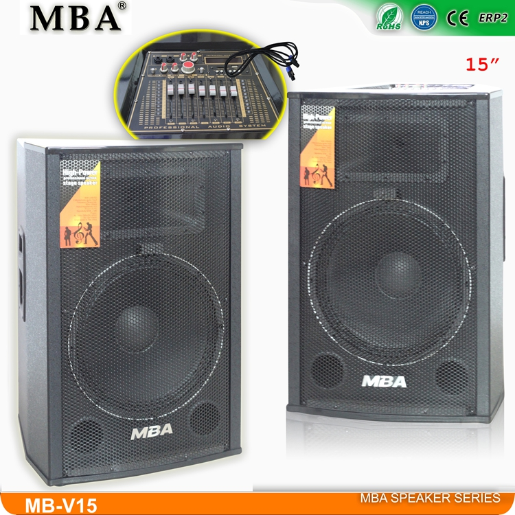 2.0 MDF Wooden Box Audio Pro Stage Speaker for Outdoor/Public/Concert/Party/Indoor/Meeting