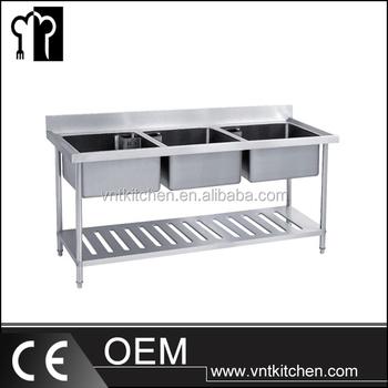 Montieren Zwei Tier Floding Sink Bench Edelstahl Küchenarbeitstisch ...