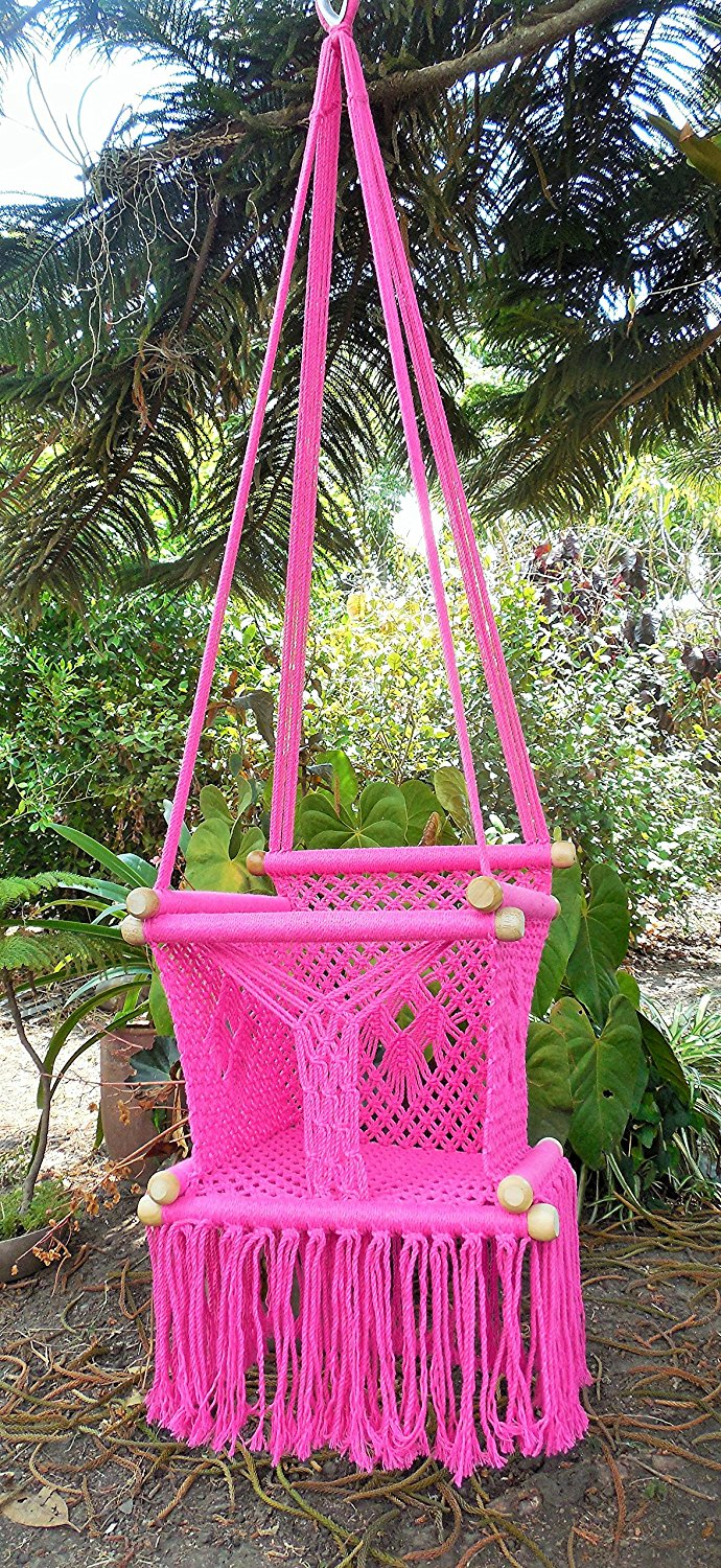 Get Quotations Baby Hanging Chair Handmade Macrame Cotton Pink Indoor Outdoor Swing