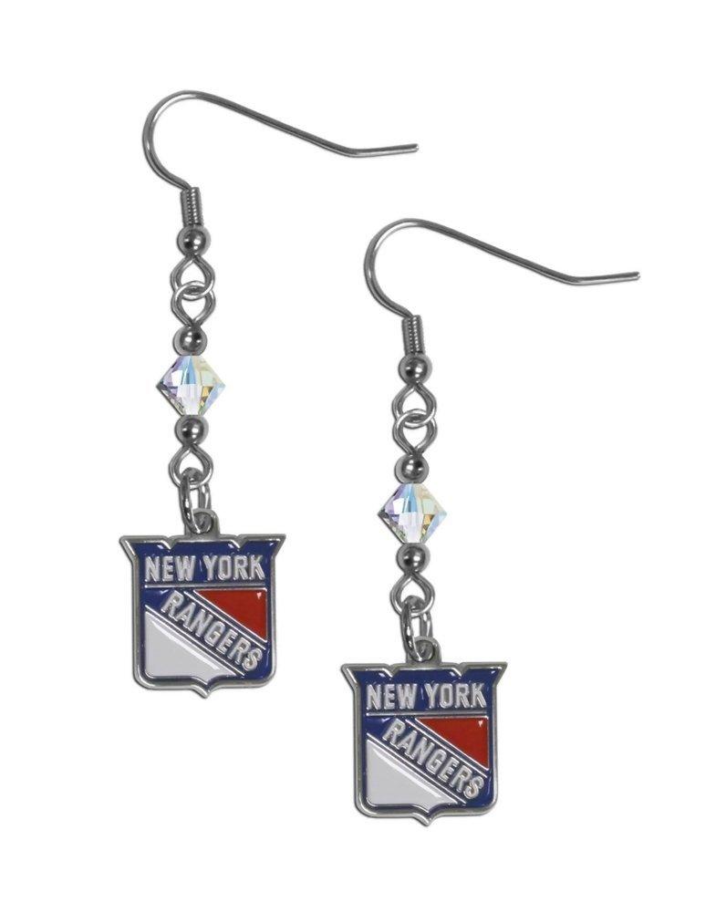 Siskiyougifts NHL Sports Team New York Rangers Crystal Dangle Earrings
