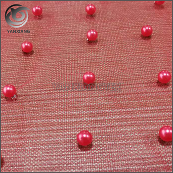 Single design red tulle mesh flat embroidered fabric with pearls