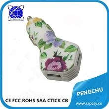 Flower pattern 2 port usb charger for car output 5v 2a china supplier