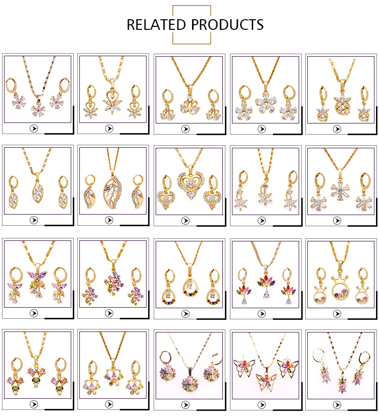 Fashion Ladies Jewellery Sets Wholesale Gold Plated Gold Jewelry Set