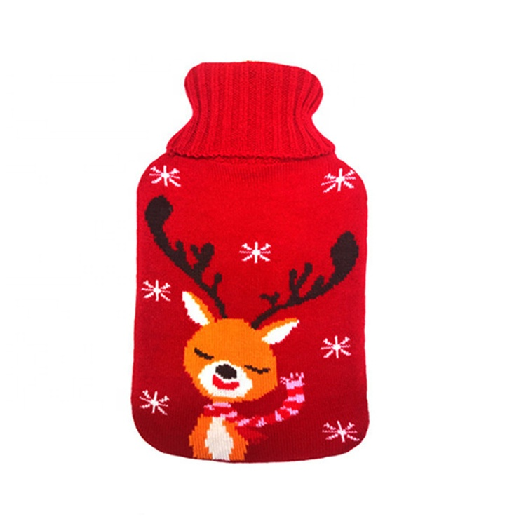 Jacquard Patroon Cartoon Winter Rubber Warmwaterkruik Knit Cover Voor Kerst