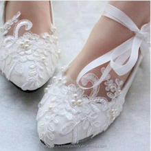 Pointed Toes White/Red Lace Pearls Women Wedding Shoes With Ribbons Lace Up Ladies Party/Dress Shoes EU34-40 MS2557