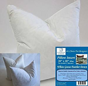 "2 Pillow Inserts: 20""x20"" 43oz. 90/10 White Goose Feather Down - 2"" Oversized & Firm Filled (Actual Size: 22""x22"")"