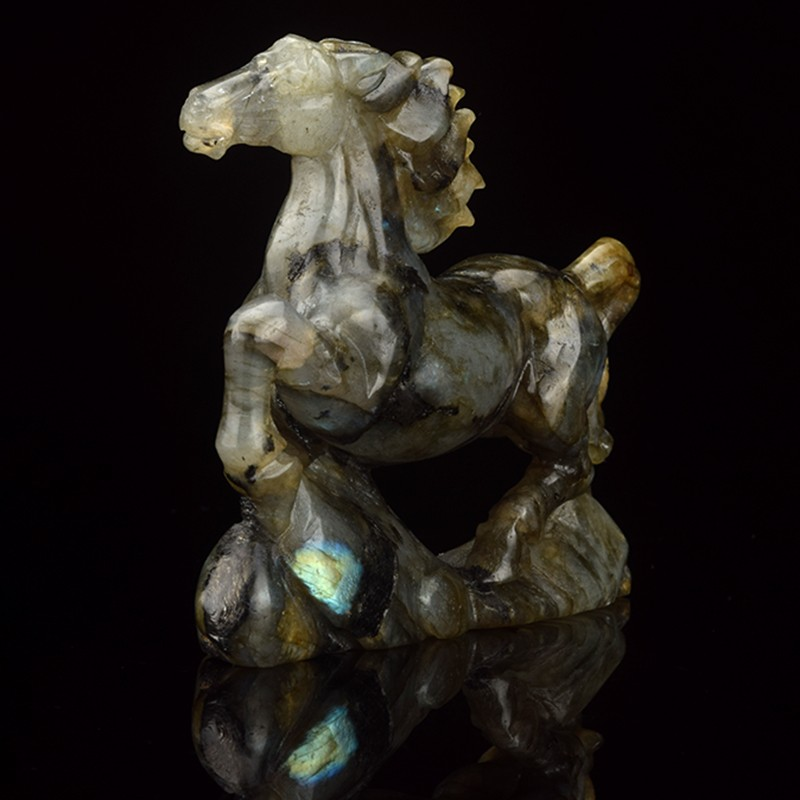 4' stone carving horse natural labradorite carved stone horse figurines