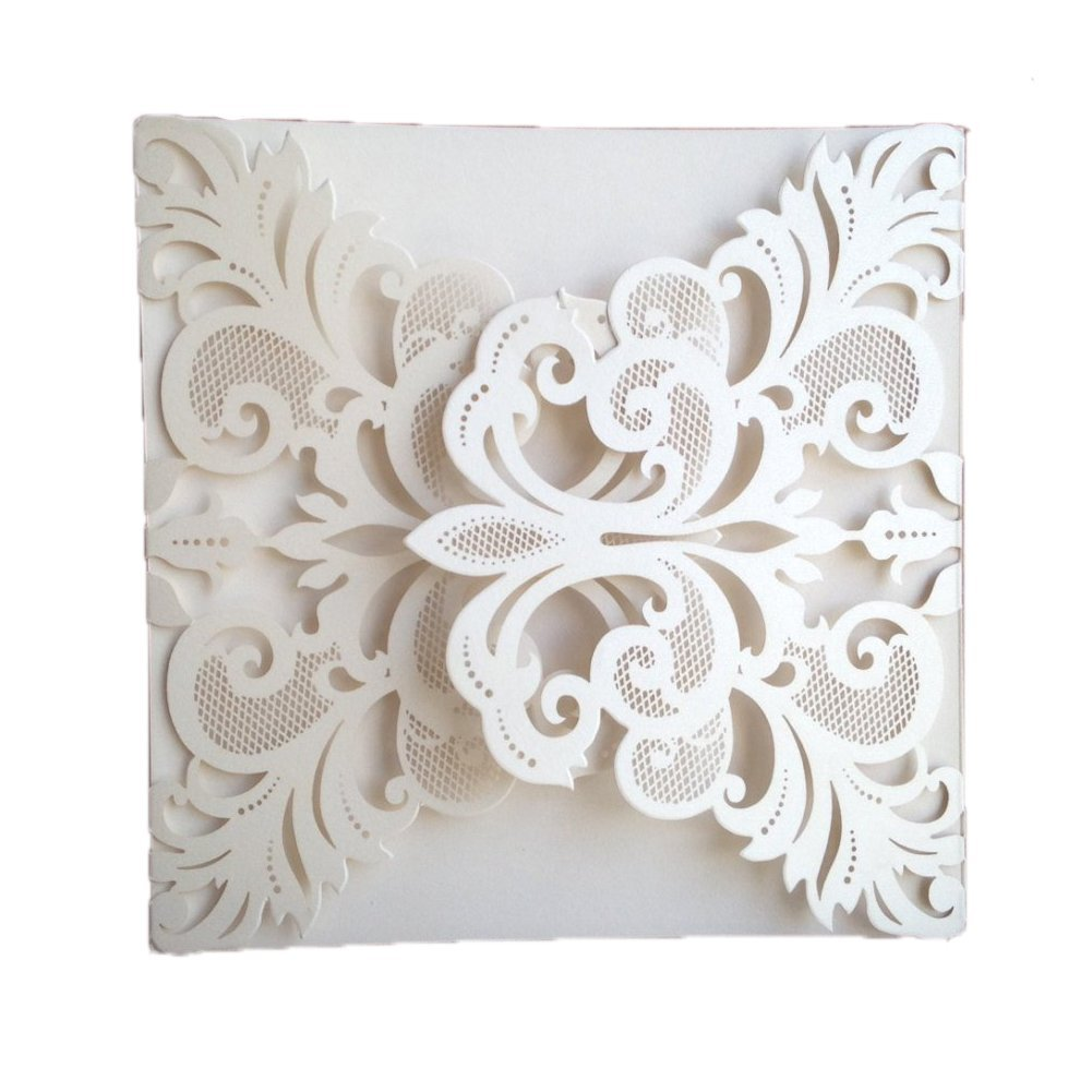 Luxury Laser Cut White Lace Floral Wedding Invitation Invite Card, Cover Only (50PCS)
