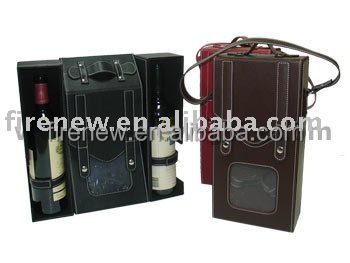 Factory supply Wine bottle box PU leather Champagne bag FN1383