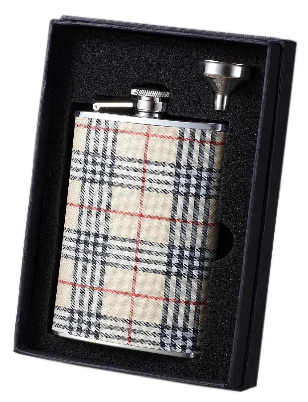 Visol VSET34-5059 Hank Plaid Wrapped Stainless Steel Flask and Funnel Gift Set, 8-Ounce