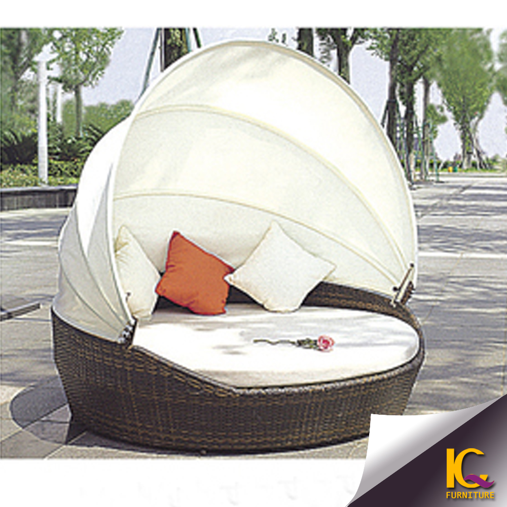 Rattan Garden Furniture Wicker Sun Lounger Daybed Round Day Bed
