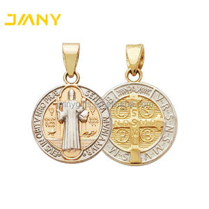 Custom Gold and Silver Tone Round St. Saint Benedict Medal Cross Religious Pendant