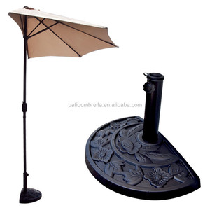 Stylish half round parasol wall umbrella stand resin base holder