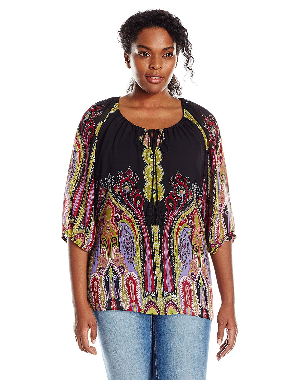 2cf80c6e106aab Get Quotations · Single Dress Women's Plus Size 3/4 Sleeved Peasant Blouse