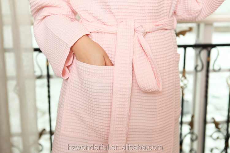 women's pajamas/pink waffle bathrobe/ bathrobe for hotel