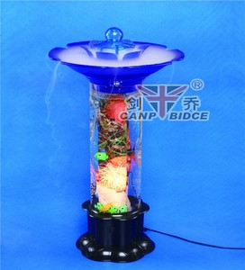 Double layer cool mist standing lamp with paint craft and tropical fish