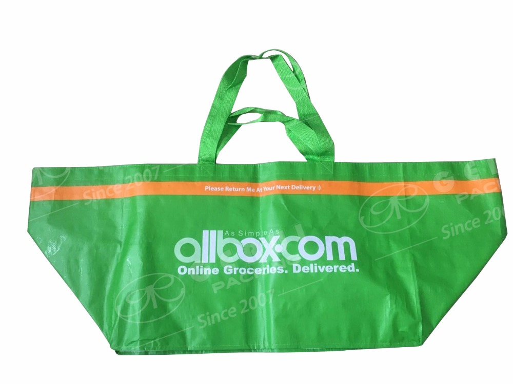 large durable green color grocery customized pp woven carrier bag