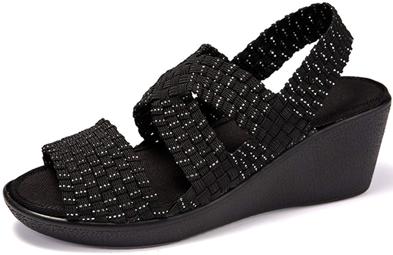 6ebadaf4fa6d Get Quotations · WaltZon Women Woven Platform Wedges Shoes Mary Jane Sandals