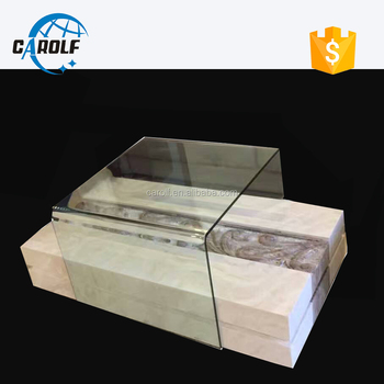 Agate Stone Coffee Table With Template Glass Top