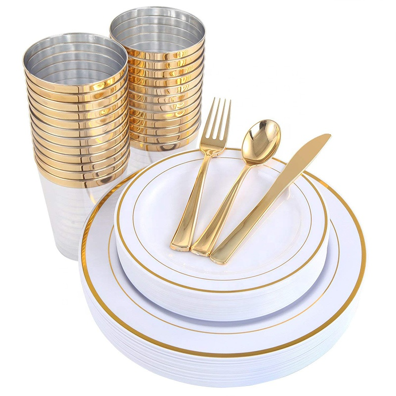 New 25 Guest Disposable Gold Dinnerware Set Heavy Duty Plastic <strong>Plates</strong>, Cups, Silverware & Napkins