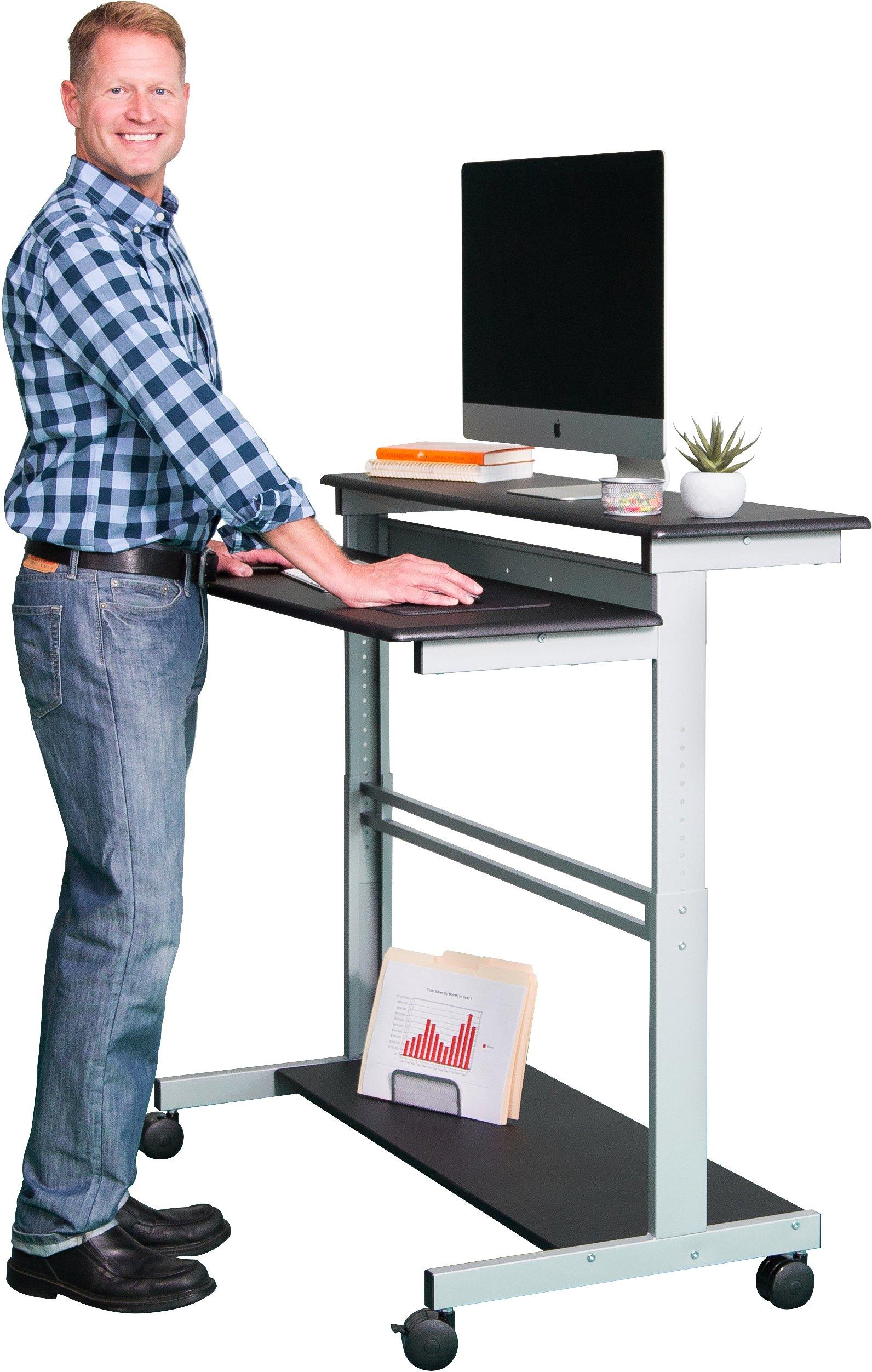 """48"""" Shelves Mobile Ergonomic Stand Up Desk Computer Workstation (Black Shelves/Silver Frame) …"""