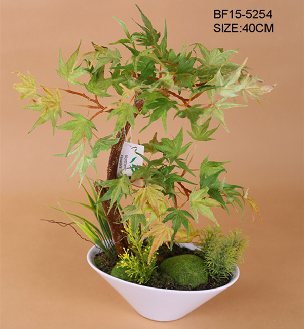 2018 chinese garden decor plant artificial maple tree in plastic pot