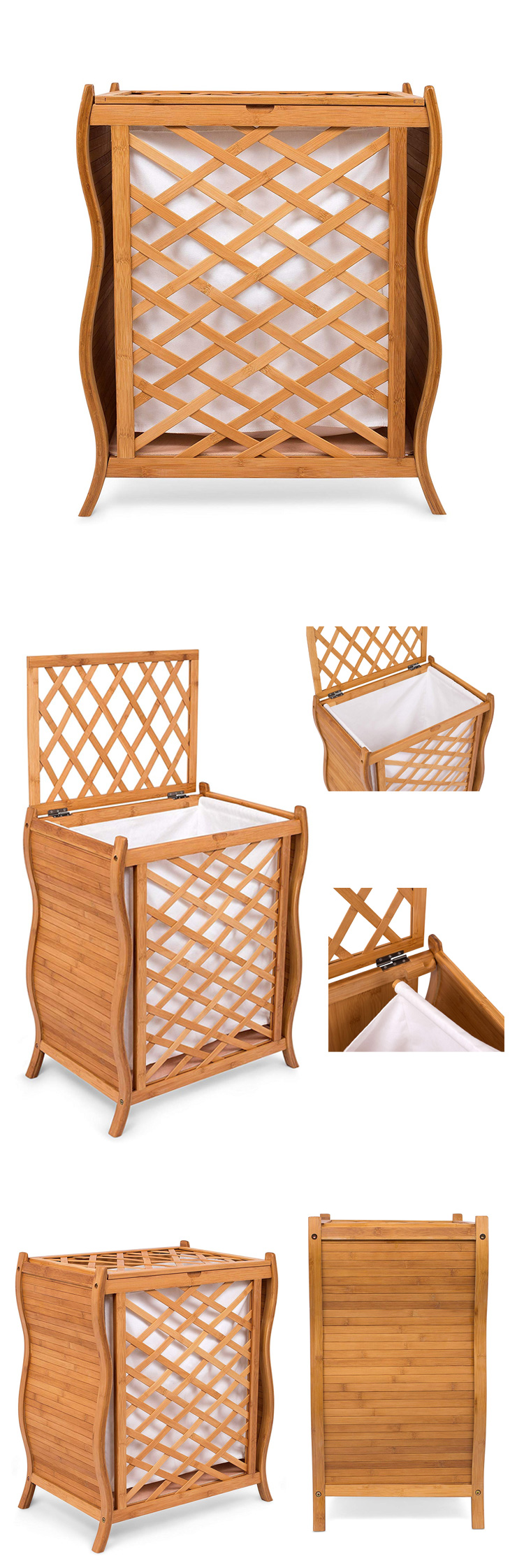 High Quality Natural Bamboo Wave Lid Laundry Basket