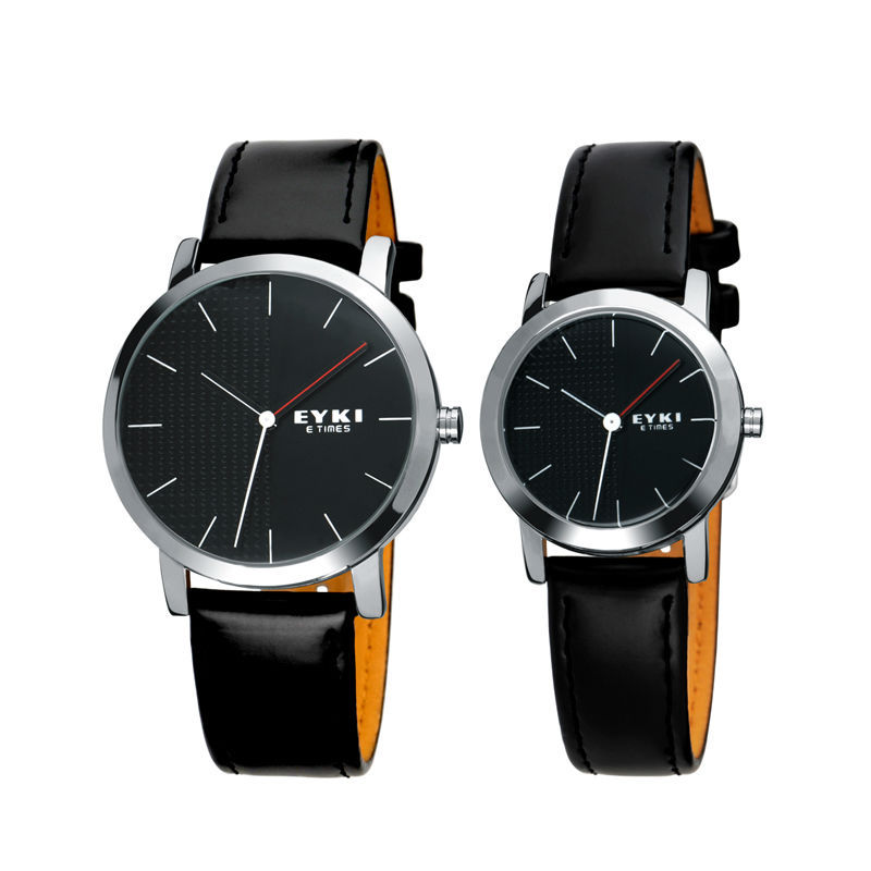 2015 New Style Lovers' watches EYKI Leather and Stainless steel scrap Fashion Simple watch 8410