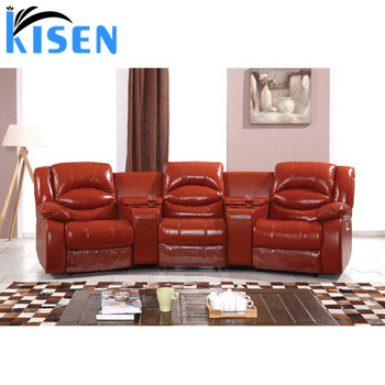 Living Room Sofa Luxury Red Leather