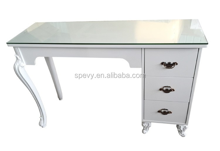 2016 Antique White Manicure Nail Table With Glass Top - Buy Glass ...