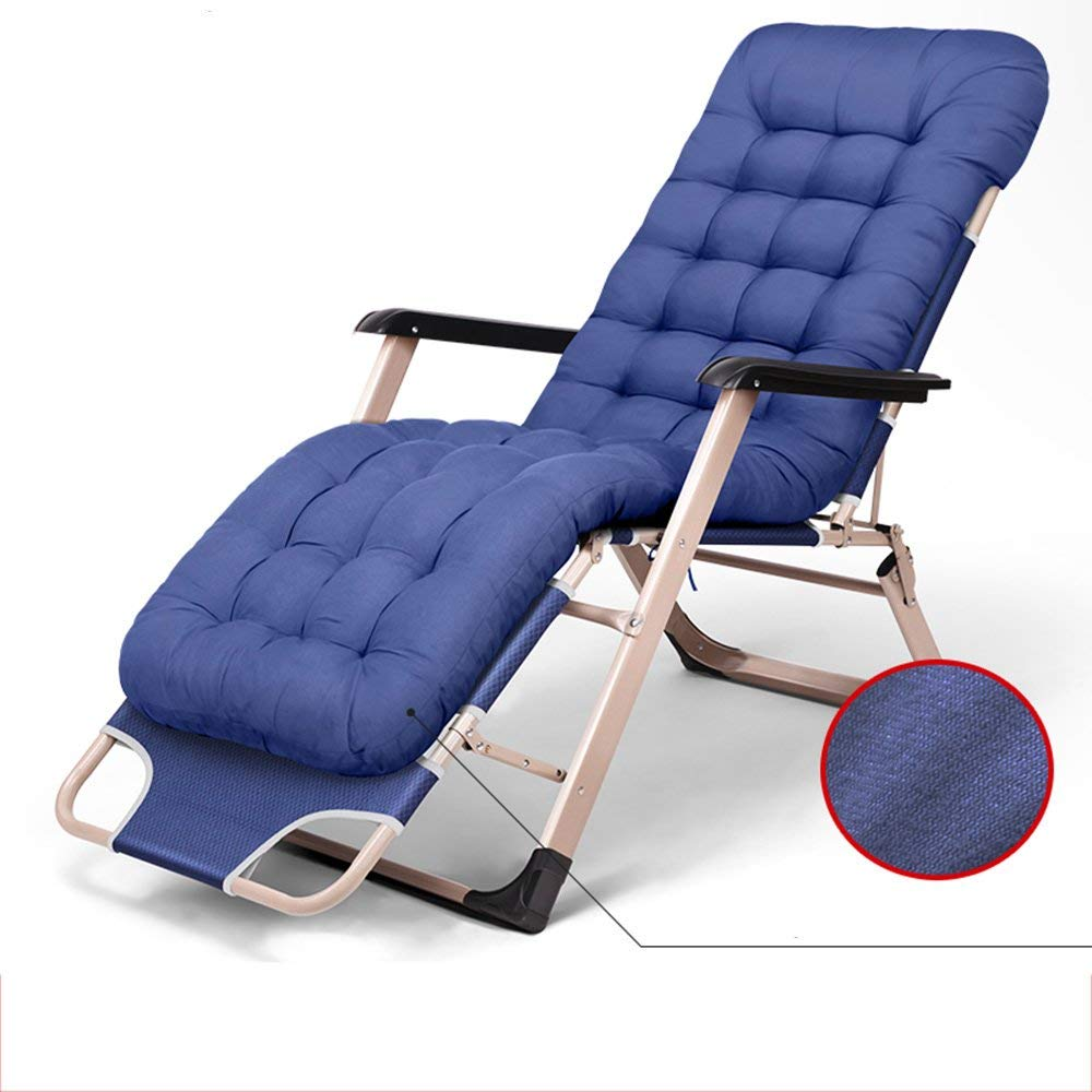 Rocking Chairs MEIDUO Folding Bed Zero Gravity Patio Lounge Chair Oversize With Padded Adjustable Recliner Support 300kg 3 Colors (Color : Blue)