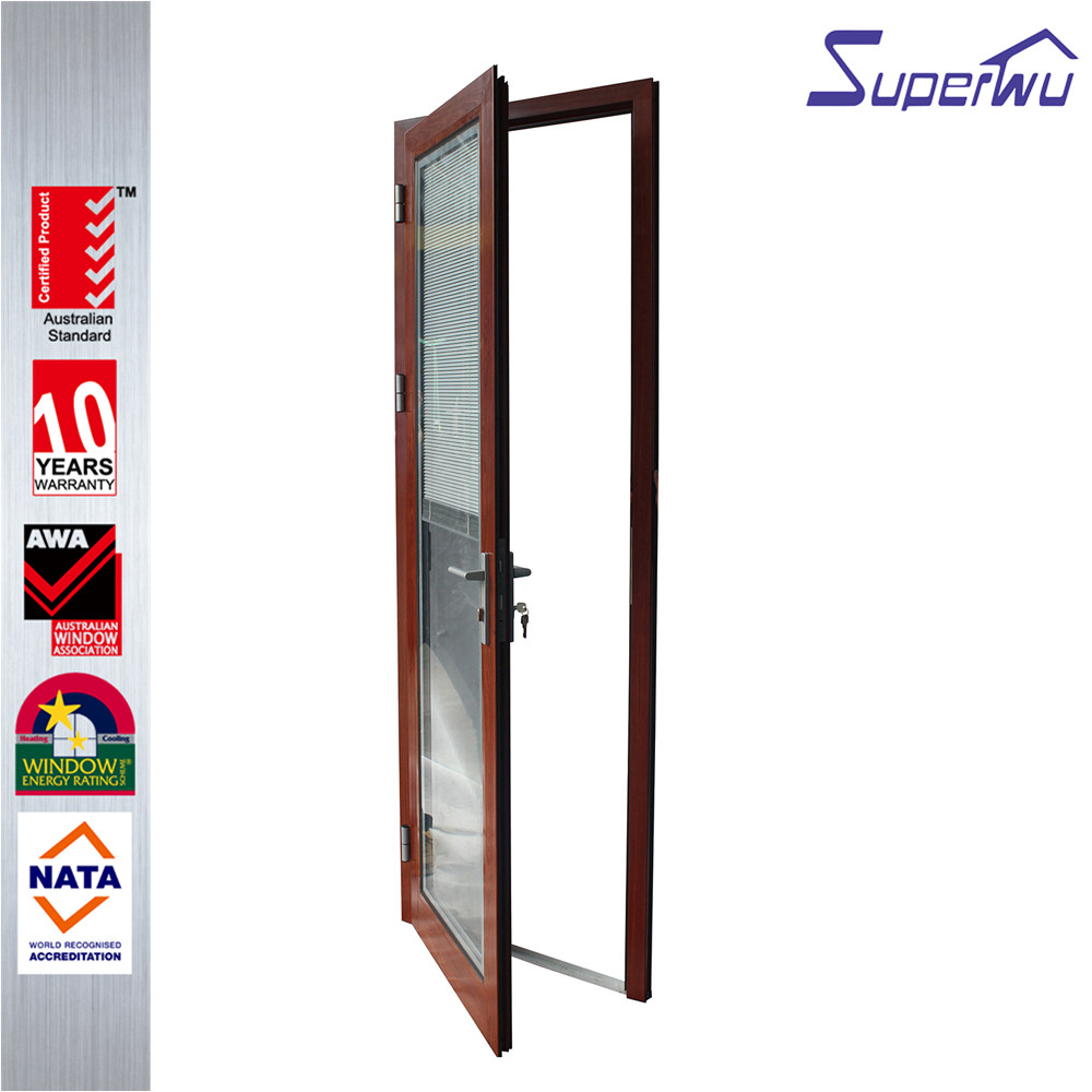 Customized wooden color single hinged door aluminum french door double tempered glass