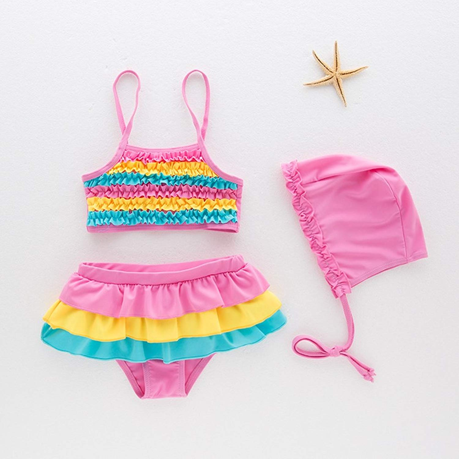 0a4e267ccfae9 Get Quotations · BERTERI Two-Piece Cute Colorful Rainbow Bikini Swimsuits  with Swimming Cap Bathing Suits Swimwear for