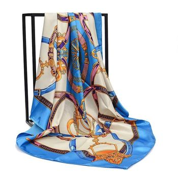 90 cm*90 cm air hostess head printed twill silk satin for malaysia polyester turkey square printing scarf