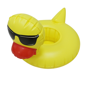 PVC Inflatable Pool Cool Yellow Duck with Sunglass Bath Beer Cup Holder for Beverage Cans, Cups & Bottles