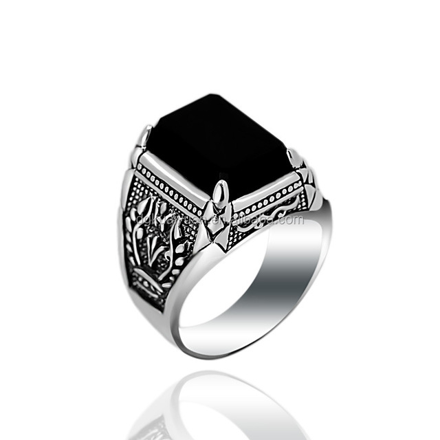 c7a0aee63b16 Classical Vintage Design Men Stone Silver Ring 925 silver ring with black  agate stone