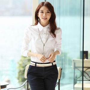 Fancy White Dress Shirts Lady Office Wear Shirt Women