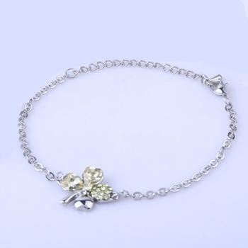 Wholesale Customized Creative Ladies Crystal Clover Chain Bracelet