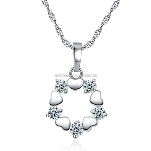 Crystal & Zircon Long Charm Pendant Necklace Romantic Love Heart Design Trendy Exquisite Classic Sale