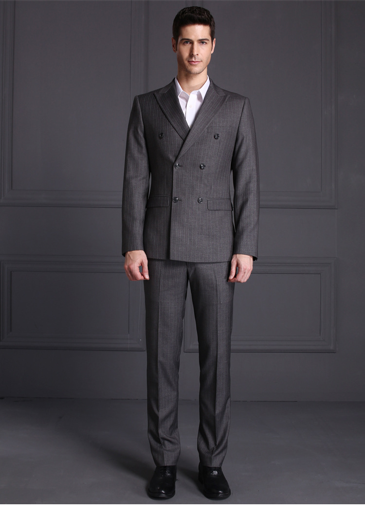 Double Breasted Suit Men Grey Stripe Tuxedo Wedding Suit - Buy ...