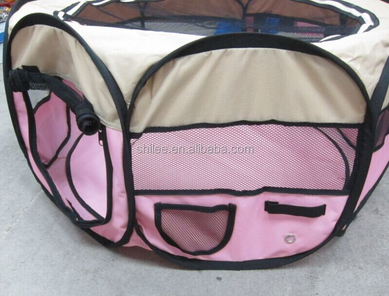 8 Panels Portable Foldable Puppy PlayPen with mesh doors