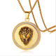 Stainless Steel Lion Head Jewelry 14k Gold Chain Necklace Men