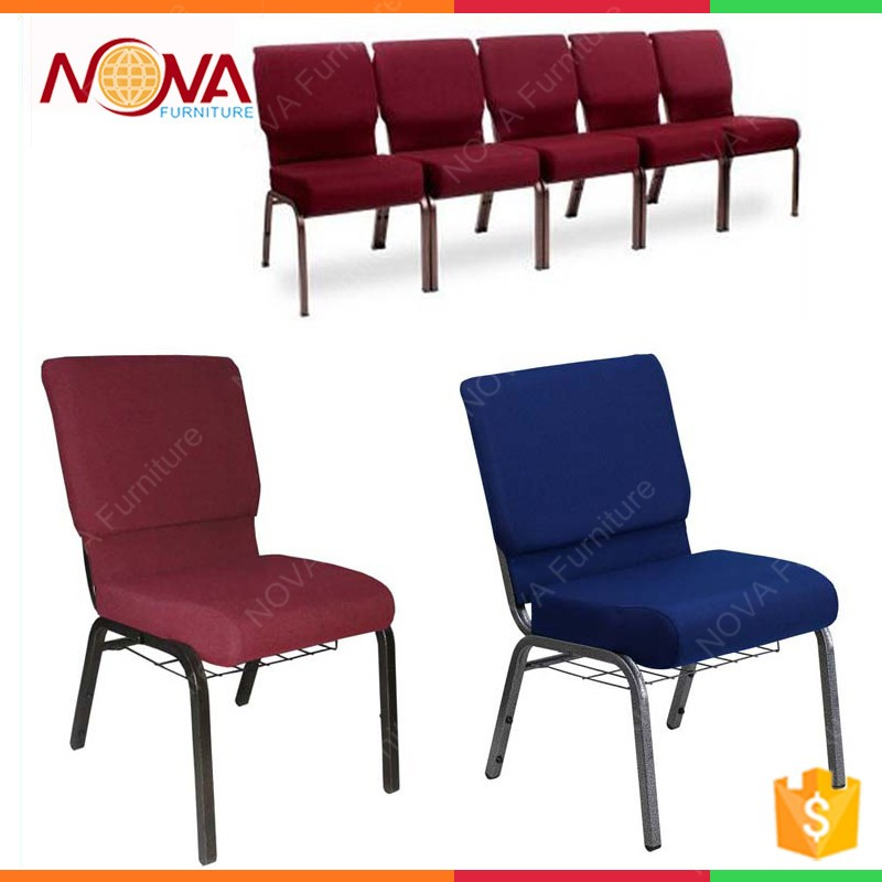 Attractive Hotsale Wholesale Stacking Interlocking Cheap Fabric Cushion Commercial  Furniture Iron Metal Used Church Chair With Book