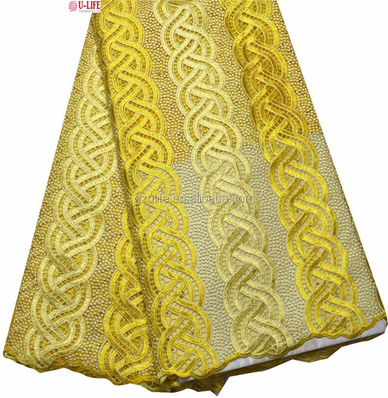 Yellow High Quality Handwork Tulle Lace French Lace Fabric with Pearls (F4703)