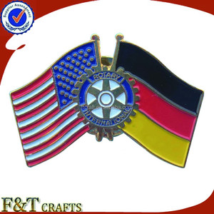 Fashion friendship crossed rotary pin flag