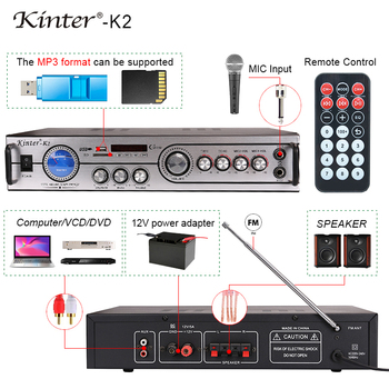 Kinter-K2 power home audio amplifier with usb/sd/fm